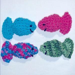 Eight Crocheted Organic Catnip Fish Cat Toys